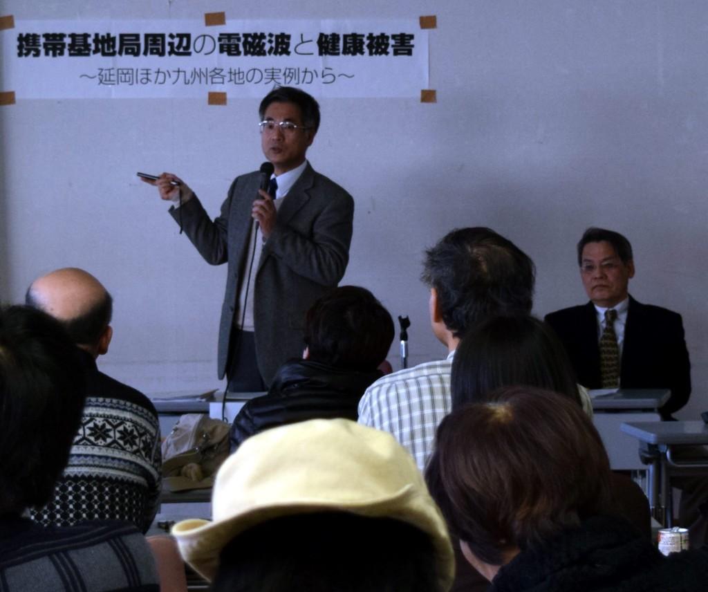 講演する吉富邦明・九州大学教授
